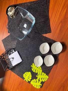 Individuales comedor servilletero, portavasos y ensaladera de cristal