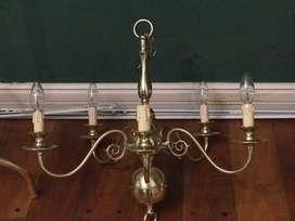 Araña de bronce 5 lamparas