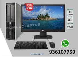 "COMPUTADORA COMPLETA HP INTEL CORE i5 + RAM 8GB +T.VIDEO HD INTEL +DDURO 500GB+MONITOR DELL 19"" + REGALO TECLADO Y MOUSE"