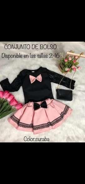 Hermoso conjunto de vestido con bolsito para niña