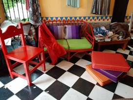 Salta - juego completo, sillon caña/mimbre, silla, almohadones, manta (preguntar por elementos por separado)