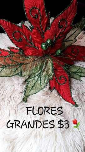 FLORES GRANDES NAVIDENAS DECORATIVAS