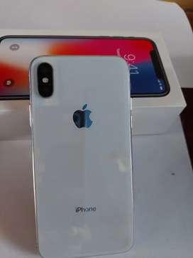 IPhone x con cargador de carga rápida, estuche transparente, físico 10/10