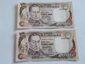 Billetes colombianos de 2000 pesos consecutivos