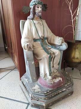 Santo en Madera Y Fibra Antiguo Espectac