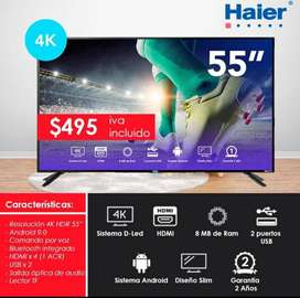 """TELEVISOR HAIER 55"""". TV 4K. GENERAL ELECTRIC. UHD. ANDROID. HDMI"""