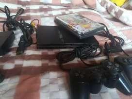 Ps2 con 2 mandos, memoria y juegos, listo para jugar