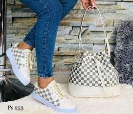 Zapato Tennis Deportivo Bolso Tula Para Mujer