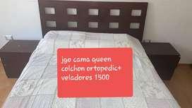 jgo Cama queen, colchon ortopedic + Veladores
