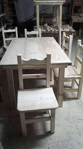 Juego comedor mesa mas 6 sillas
