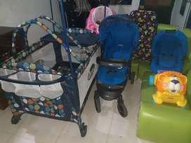Corral, coche, silla para carro, caminador, artículos para bebés