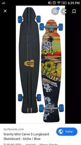 Longboard Gravity mini carve 3 usado. Hecho en USA excelente estado, trucks, rulemanes y ruedas profesionales.