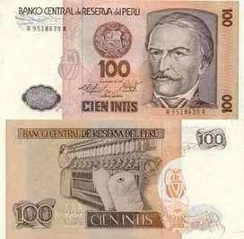 Billetes Nuevos 100 Intis Año 1987 Unc