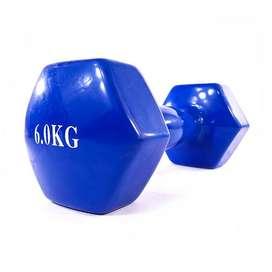 Mancuerna vinilo de 6 Kilos azul por unidad NUEVA