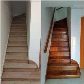 instalacion de pisos y escaleras en madera