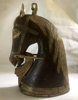 Cabeza de caballo de la India. Madera y bronce. Hecha a mano. Bellísima.