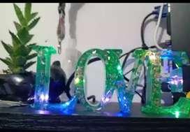 Love en resina con luces (personalizado)