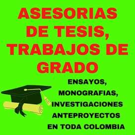 Asesorías en Trabajos de Grado, Tesis, Ensayos, Anteproyecto