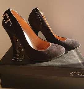 Zapatos Stiletos Gamuza Negros