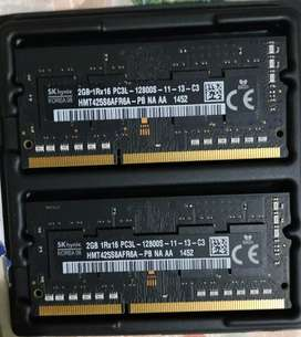 Memoria RAM DDR3 para portatil, laptop, MacBook pro. 4 gigas (2x2gb)
