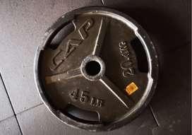 Disco /pesas Encauchado De 45 Lbs