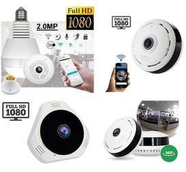 Camara Seguridad IP Panoramica Bombillo Sensor de Humo Vigilancia WIFI