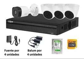 Camaras de seguridad kit de DVR HD + disco duro 1 tera + 2 camaras HD +  2 fuentes + 2 video baluns + instalacion
