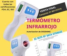 Termómetro Infrarrojo sin contacto con certificaciones FDA, ISO y EC y permisod e DIGEMING