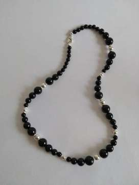 Collar Plata 950 Y Piedras Onix Originales Regalo Mujer Dama