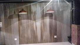 DECORACIONES EN LAMINA DE ZINC OXIDADAS CON LAMPARAS