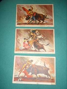 lote 3 antiguas Tarjetas postales Corrida de Toros . Fotocelere . Serie Toreo . Molinete estocada