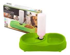 Plato Comedor Dosificador De Agua 2 En 1 Para Mascotas