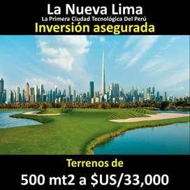 Venta de TERRENO 500 mt , (INVERSIÓN ASEGURADA) Km 120 Panameric. Sur