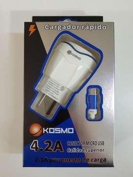 CARGADOR CELULAR RAPIDO, TABLET 4.2A KOSMO KS-18H 220V TRAVEL C CABLE