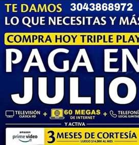 Triple play de 60 MEGAS paga en julio