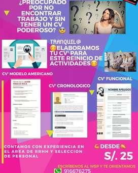 Flyer para elaborar CV's