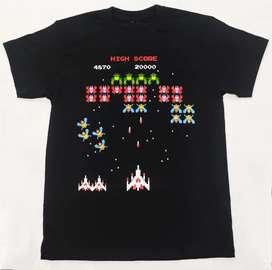 Camiseta Galaga, vídeo juegos clásicos , Nintendo, Gamers.