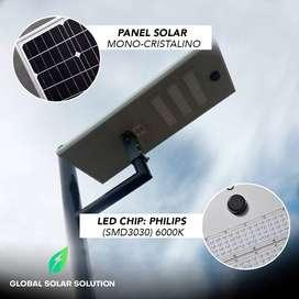 Luminarias LED solar integrada lampara solar AIO de 6.000 lumenes