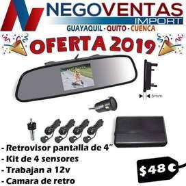 PANTALLA RETROVISOR DE 4 PULGADAS + SENSORES DE PARQUEO
