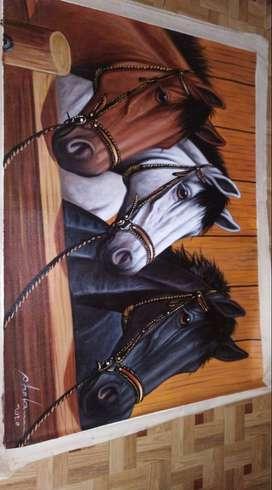Cuadro triada caballos