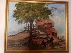 Cuadro en oleo, de un paisaje pintado a mano