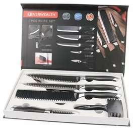 Kit set de cuchillos x 6 piezas profesional con pelador de papas y tijeras de para cocina cuchillo cuchilla 6 en 1