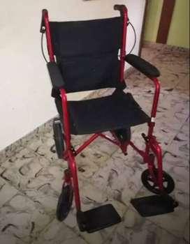 SILLA RUEDAS DRIVE TRANSPORTE ALUMINIO - ROJA