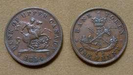 Moneda de 1 penique Alto Canadá, Canadá 1854