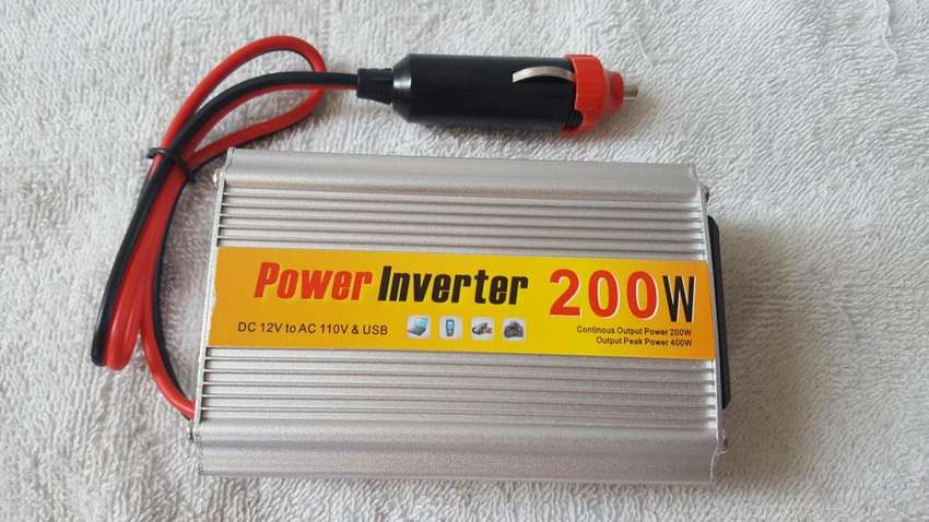 INVERSOR O CONVERTIDOR DE CORRIENTE 200 W 12V DC a 110 NUEVOS! 0
