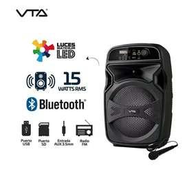 Amplificador recargable 15W Rms con luces y micrófono