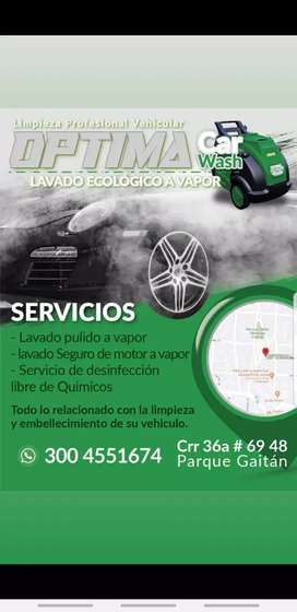 LAVADO A VAPOR CON OPTIMA STEAMER DESINFECTA TU VEHICULO CRR 36A # 69-48 MANRIQUE PARQUE GAITAN