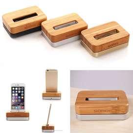 Dock de carga SAMDI de bambu y aluminio p/Iphone 6S65S54