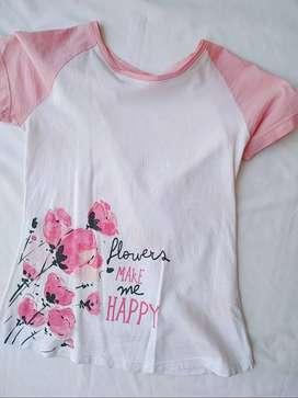 Camiseta Rosada Flores Talla 10