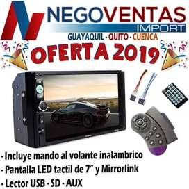 RADIO PANTALLA DOBLE DIN MP5 MAS CONTROL MANDOS AL VOLANTE BLUETOOTH USB SD AUX FM PARA CARROS